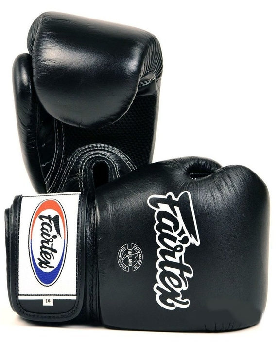 fairtex breathable muay thai gloves black