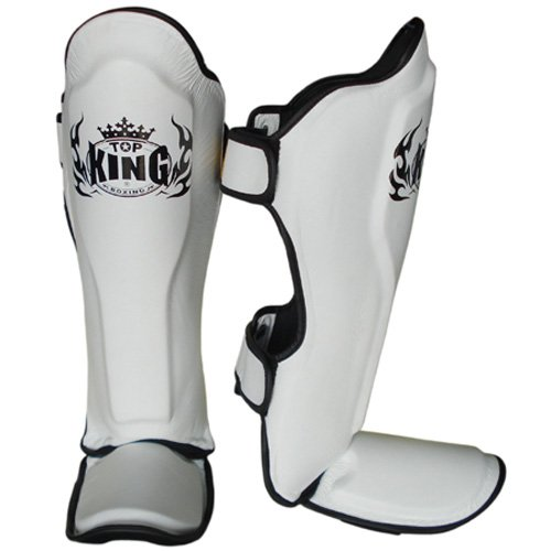 Top King Shin Guard Pro Genuine Leather Black//White