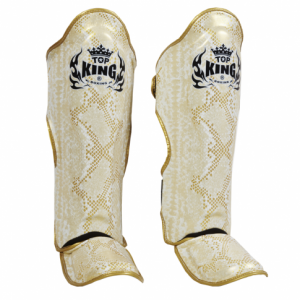 top king snake shin guards white gold