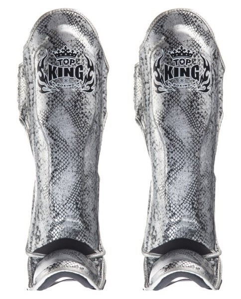 top king snake silver shin guards