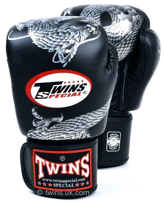 twins chinese dragon black silver gloves