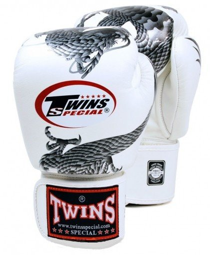 twins chinese dragon gloves white and silver