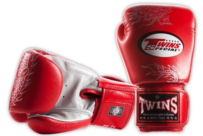 twins dragon print gloves red