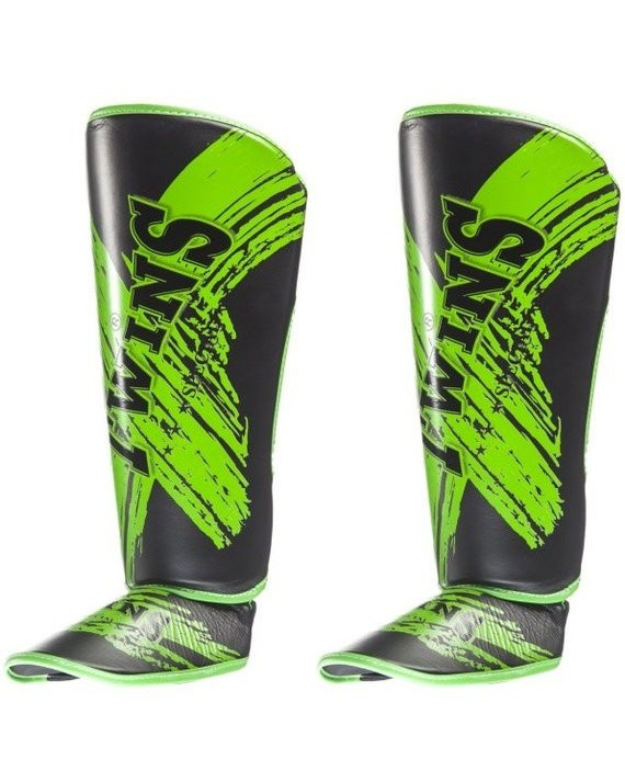 twins shin guards green and black