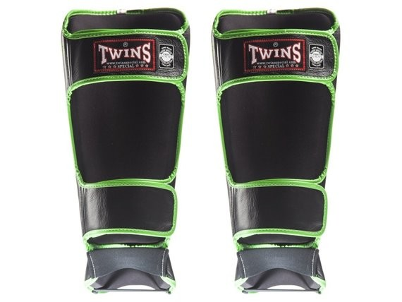 twins shin guards green and black back
