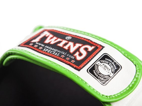 twins shin guards green and white back